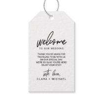 Whimsical Calligraphy Wedding Welcome Gift Tags