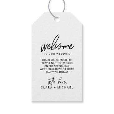 Beach Themed Whimsical Calligraphy Wedding Welcome Gift Tags