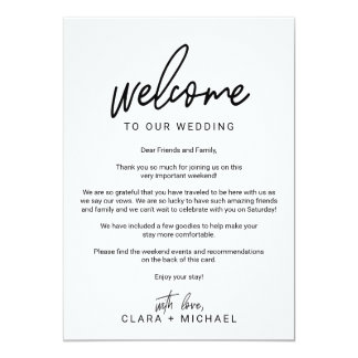 Whimsical Calligraphy Wedding Welcome Letter Card