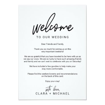 Beach Themed Whimsical Calligraphy Wedding Welcome Letter Card