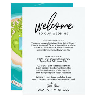 Whimsical Calligraphy Welcome Letter & Map Card