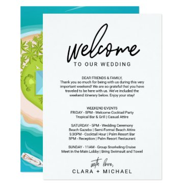 Beach Themed Whimsical Calligraphy Welcome Letter & Map Card