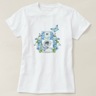 Whimsical Camera Design with Butterflies T-Shirt