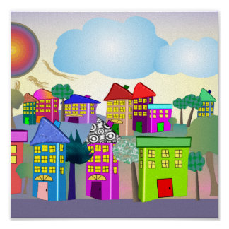 """Whimsical Canvas Art """"The Cottages"""" by gail gabel Print"""