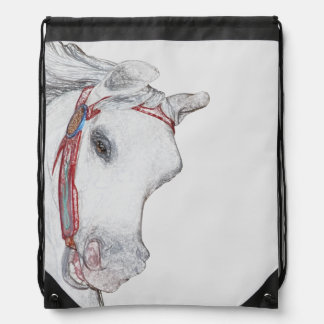 Whimsical Carousel Horse Face Pencil Drawing Drawstring Backpack
