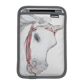 Whimsical Carousel Horse Face Pencil Drawing iPad Mini Sleeve