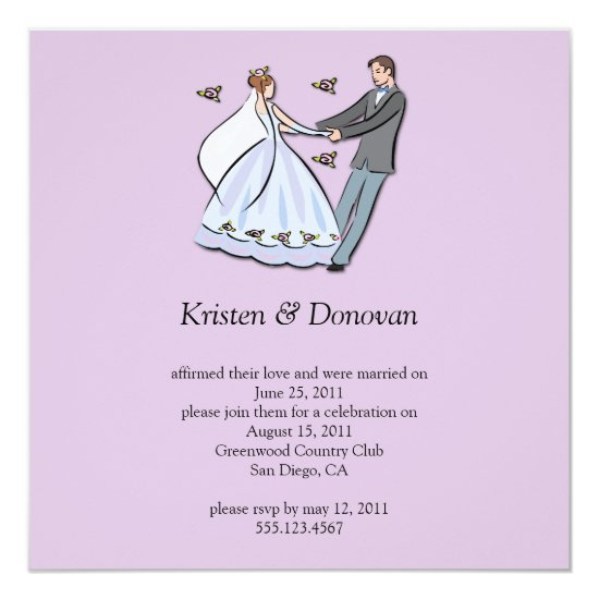 Whimsical Cartoon Bride Groom Post Wedding Celebra Invitation