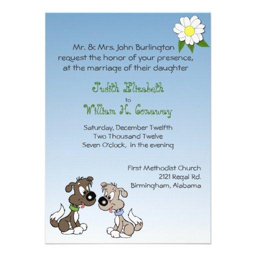 Whimsical Cartoon Dogs Wedding Invitation