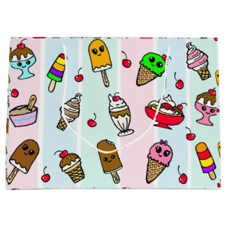Whimsical Cartoon Ice Cream Birthday Large Gift Bag