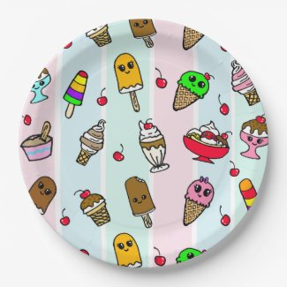 Whimsical Cartoon Ice Cream Girl's Birthday Party Paper Plate