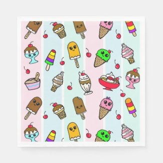 Whimsical Cartoon Ice Cream Themed Girl's Birthday Napkin