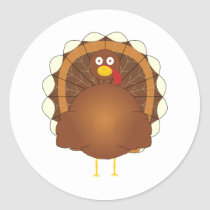 Whimsical cartoon turkey classic round sticker