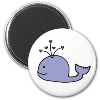 Whimsical Cartoon Whale 2 Inch Round Magnet