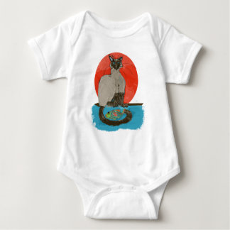 whimsical cat and fish for the cat lover baby bodysuit