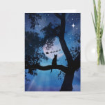 """Whimsical Cat and Santa Happy Holidays Card<br><div class=""""desc"""">This is such a fun way to wish Happy Holidays! A lone little cat in a tree with a full moon,  watching as Santa goes by.</div>"""