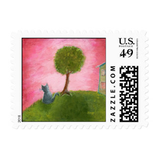 Whimsical Cat and Tree Primitive Art Stamps Small