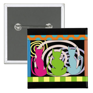 Whimsical Cat Art Gifts 2 Inch Square Button