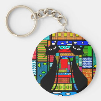 Whimsical Cat Art Gifts Basic Round Button Keychain