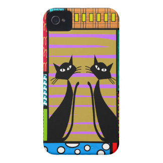 Whimsical Cat Art Gifts Case-Mate iPhone 4 Cases