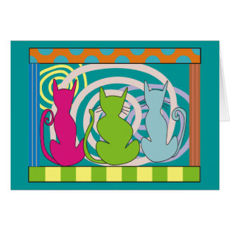 Whimsical Cat Art Gifts Greeting Card
