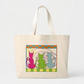 Whimsical Cat Art Gifts Jumbo Tote Bag