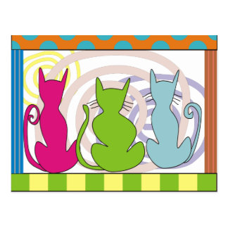 Whimsical Cat Art Gifts Postcard