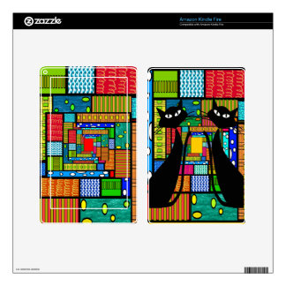 Whimsical Cat Art Gifts Skin For Kindle Fire