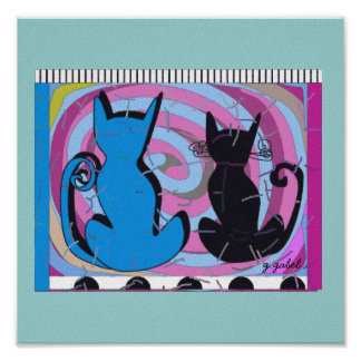 """Whimsical Cat Art """"Pondering The Day"""" Canvas Art Poster"""