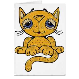 Whimsical Cat Greeting Card