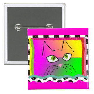 Whimsical Cat Face Gifts 2 Inch Square Button