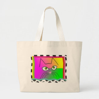 Whimsical Cat Face Gifts Jumbo Tote Bag