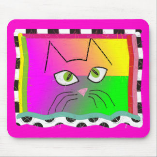 Whimsical Cat Face Gifts Mouse Pad