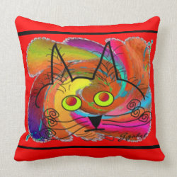 Whimsical Cat Face Pillow