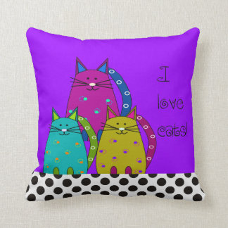 Whimsical Cat Face Pillow Purple and Polka Dots