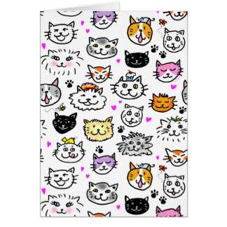 Whimsical Cat Faces Pattern Card