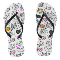 Whimsical Cat Faces Pattern Flip Flops