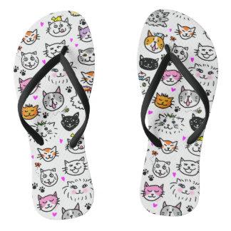 Whimsical Cat Faces Pattern Flip Flops