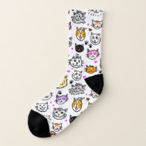Whimsical Cat Faces Pattern Socks