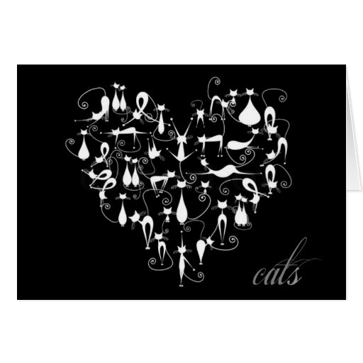 Whimsical Cat Heart Note Cards