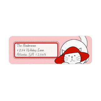 Whimsical Cat In a Red Hat Return Address Label