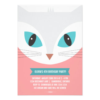 WHIMSICAL CAT KIDS BIRTHDAY PARTY INVITATION