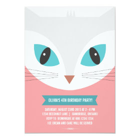 WHIMSICAL CAT KIDS BIRTHDAY PARTY INVITATION 5