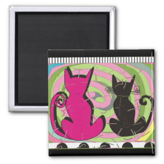 """Whimsical Cat Lovers Art Gifts """"Pensive Thoughts"""" 2 Inch Square Magnet"""