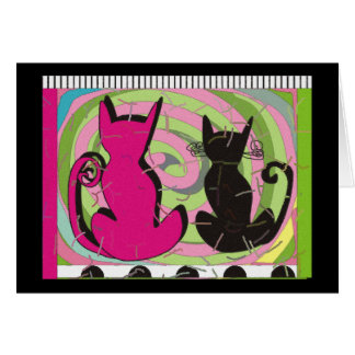 """Whimsical Cat Lovers Art Gifts """"Pensive Thoughts"""" Greeting Card"""