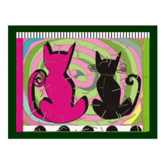 """Whimsical Cat Lovers Art Gifts """"Pensive Thoughts"""" Postcard"""