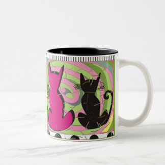 """Whimsical Cat Lovers Art Gifts """"Pensive Thoughts"""" Two-Tone Coffee Mug"""