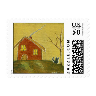 Whimsical Cat Owl House Primitive Art Painting Postage