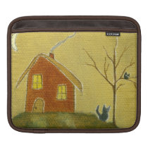 Whimsical Cat Owl House Primitive Art Painting Sleeve For iPads