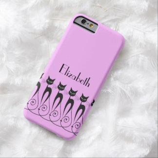 Whimsical cat PERSONALIZE Barely There iPhone 6 Case
