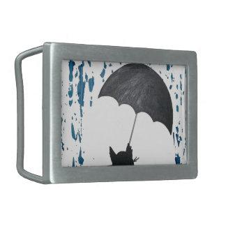 Whimsical Cat under Umbrella Belt Buckle